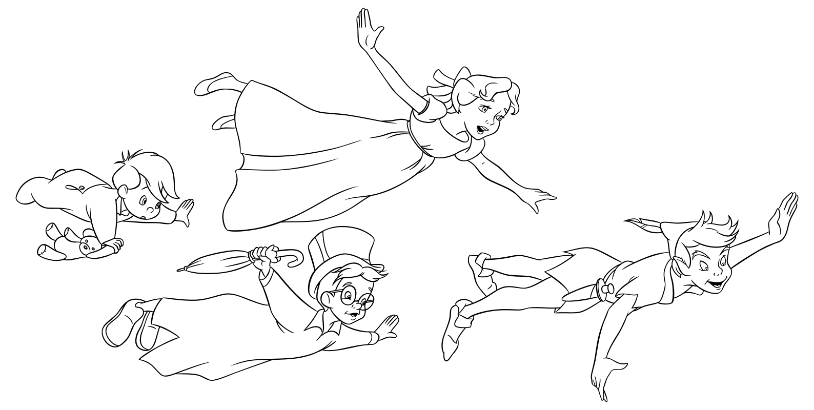 Peter Pan Y Wendy Para Colorear